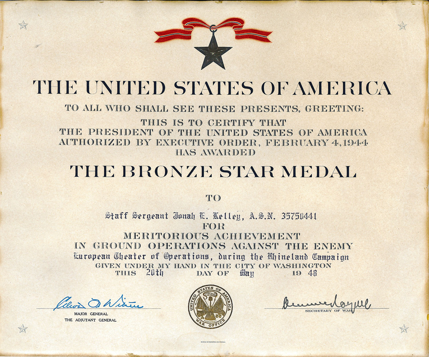 Bronze Star Citation