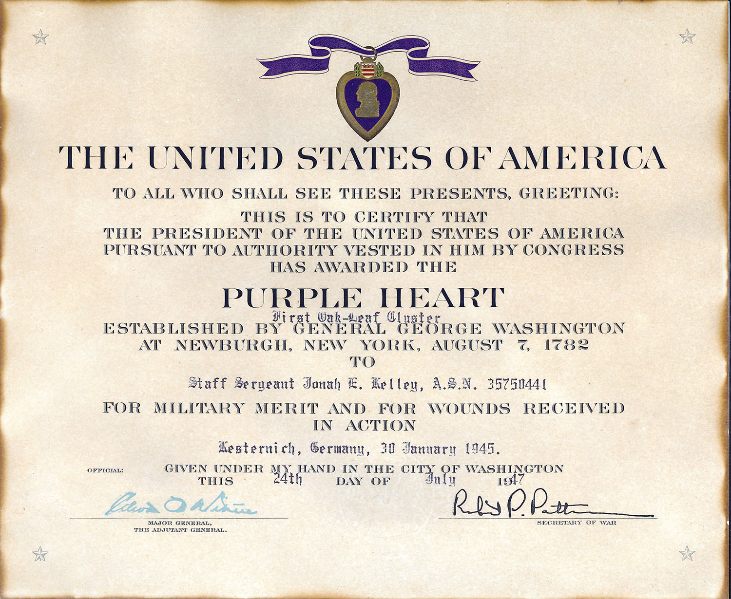 Purple Heart Citation