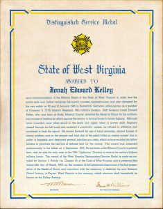 Ed's originial West Virginia Distinguished Service citation.