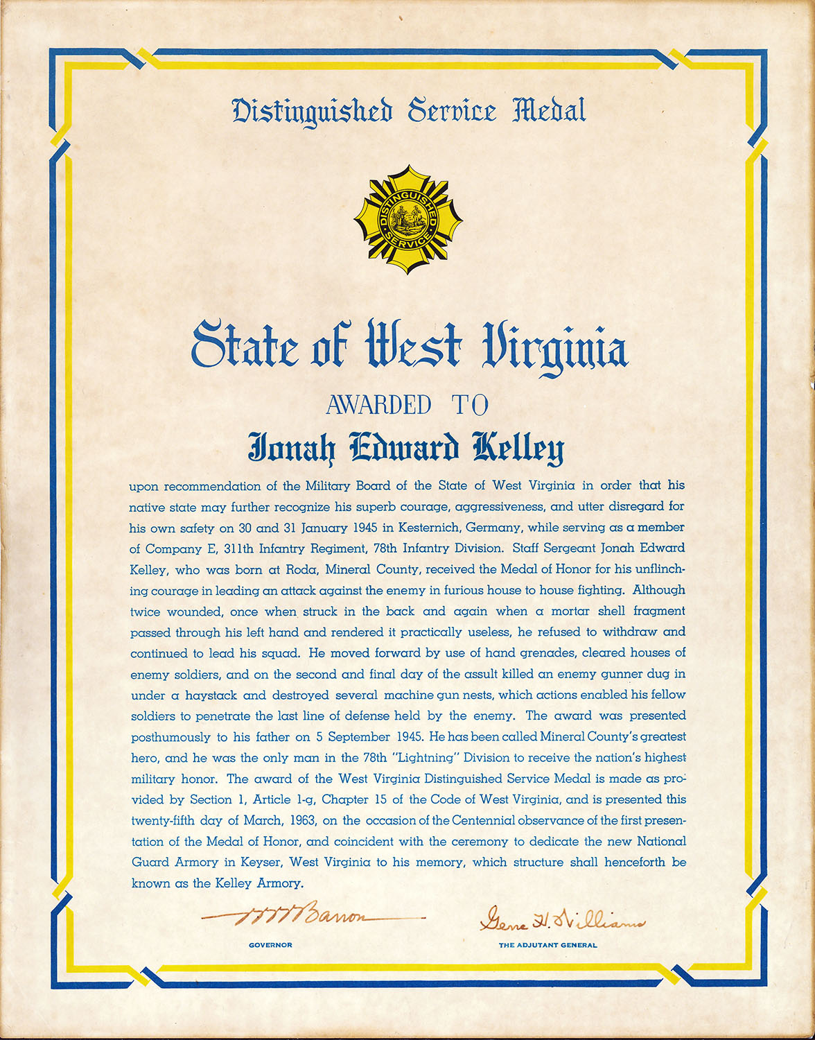 West Virginia Distinguished Service Citation