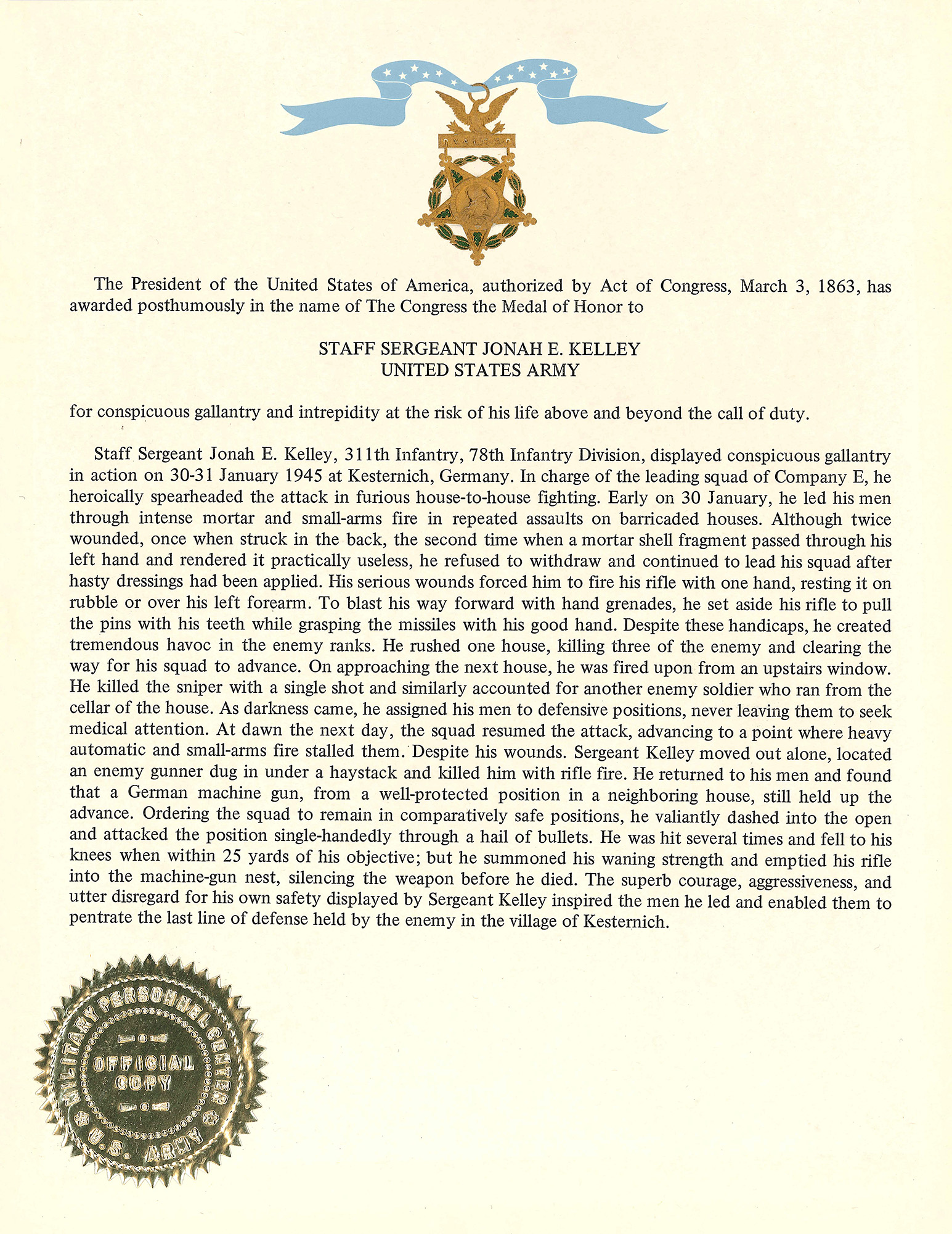 Congressional Medal of Honor Citation